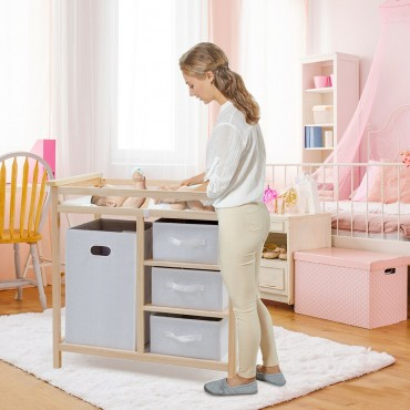 Infant Baby Storage Changing Table W / 3 Baskets