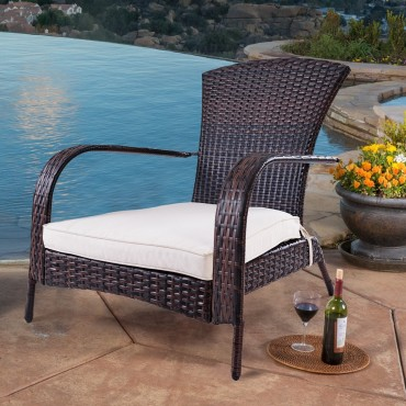 Outdoor Wicker Rattan Porch Deck Adirondack Chair W / Cushion