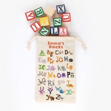 Alphabet Farm Personalized Drawstring Toy Bag