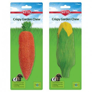 Kaytee Crispy Garden Chew Toy - Assorted Carrot or Corn - 7.5 in. - 8 in. Long - 4 Pieces