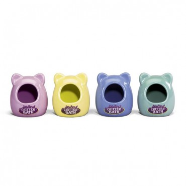 Kaytee Critter Bath - Ceramic - Assorted Colors - 3.5 in. L x 3.5 in. W x 4.25 in. H - 2 Pieces