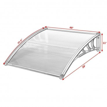 40 In. x 40 In. Outdoor Polycarbonate Front Door Window Awning Canopy