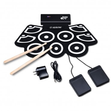Electronic Silicone Rechargeable Drum Set With Pedals Sticks