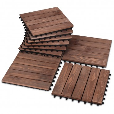 11 Pcs 12 In. x 12 In. Patio Fir Wood Pavers Interlocking Decking Flooring Brown
