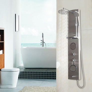 55 In. Stainless Rainfall Shower Panel W / Massage Jets