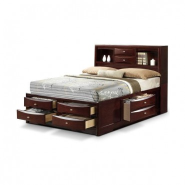 Bedroom Storage Bed With Drawers And Bookcase Headboard