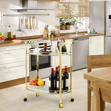 2 Tier Kitchen Bar Serving Cart with Glass Shelves