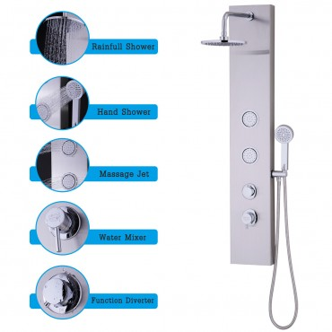 47 In. Stainless Shower Panel With Massage Jets Hand Shower