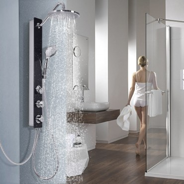 Tempered Glass Shower Column Body Joints W/ Hand And Head Shower