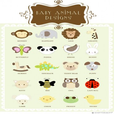 Personalized Baby Animal Frame Labels - 24 Pieces