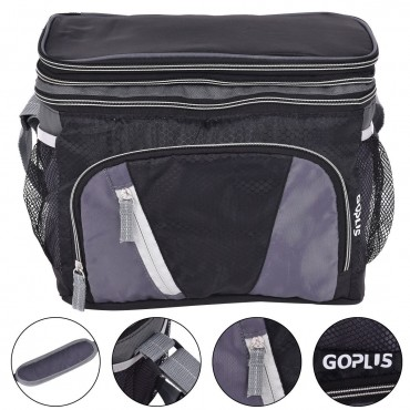 12 Can Double - layer Cooler Bag Ice Pack Lunch Container Zipper Shoulder Straps