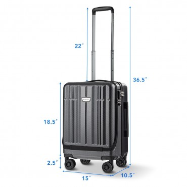 Front Pocket Luggage Business Trolley Suitcase With TSA Locks