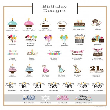 Personalized Birthday Cupcake Wrappers and Cupcake Toppers - Set of 24
