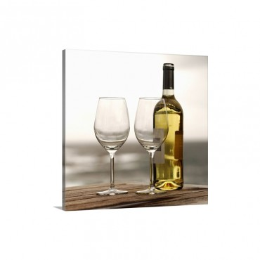 Bottle Of White Wine And Two Glasses Wall Art - Canvas - Gallery Wrap