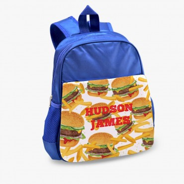 Burgers & Fries Personalized Kids Blue Backpack
