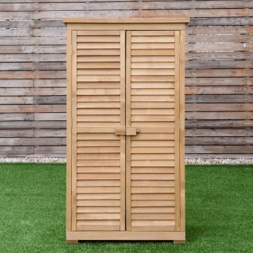 63 In. Tall Wooden Garden Storage Shed In Shutter Design