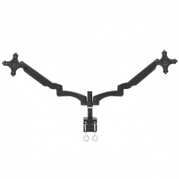 Dual LCD Monitor Spring Arms TV LCD Bracket Desk Mount Stand 2 Screens Up To 27 In.