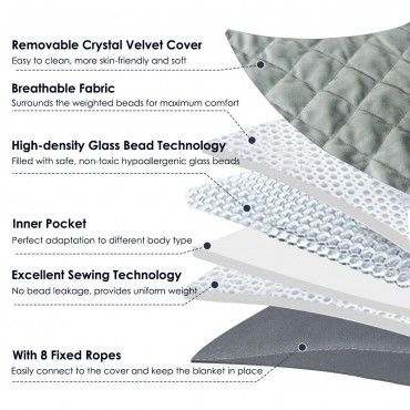 15 lbs 100 Percent Cotton Weighted Blanket With Crystal Cover