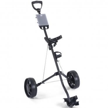 Foldable 2 Wheels Push Pull Golf Holder Trolley