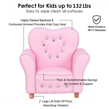 Pink Kids Sofa Armrest Chair Couch Girls' Birthday Gift