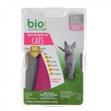 Bio Spot Active Care Flea and Tick Spot On for Cats - Cats 2.5-5 lbs - 3 Month Supply