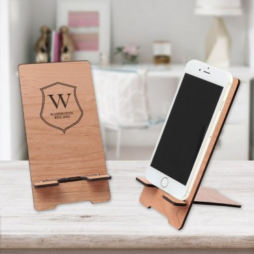 Custom Family Shield Alderwood Cell Phone Stand
