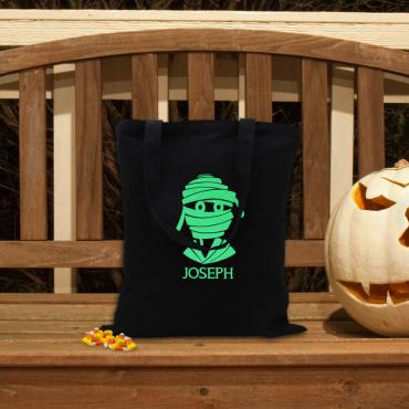 Custom Halloween Mummy Black Glow In The Dark Tote Bag