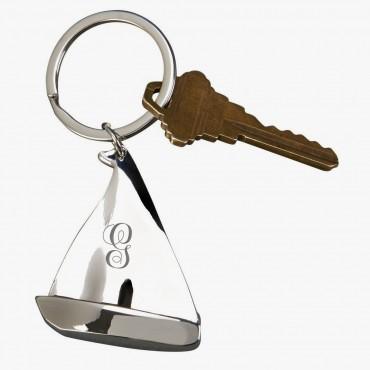 Custom Initial Sailboat Shaped Keychain