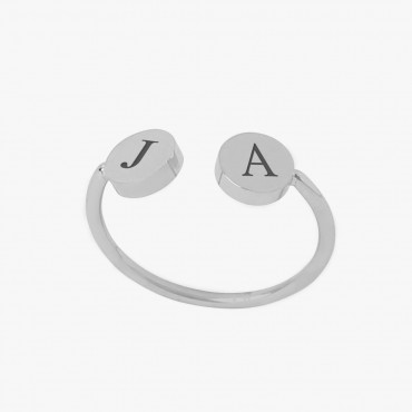 Personalized w/ Two Initials Adjustable Stainless Steel Ring