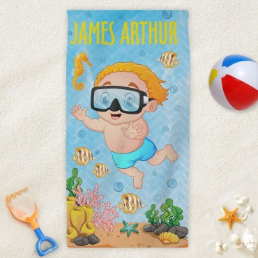 Custom Under The Sea Kids Beach Towel