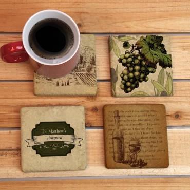 Custom Vineyard Tumbled Stone Tile Coasters Set Of Four