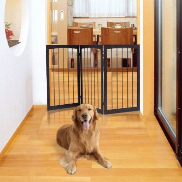 Folding Solid Wooden 3 Panel Free Standing Pet Fence