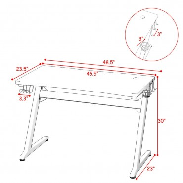 Cup And Headphone Holder Z-Shape Frame E-Sports Gaming Desk