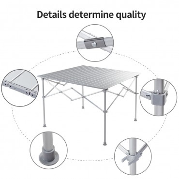 Aluminum Folding Picnic Camping Table With Roll-Up Top