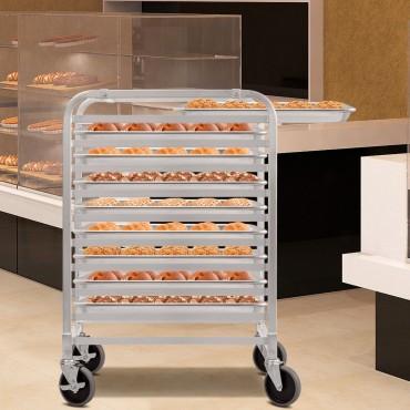 10 Sheet Aluminum Bakery Rack Rolling Commercial Cookie Bun Pan
