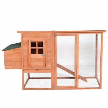 68 In. Pet Wooden House Rabbit Hutch Chicken Coop