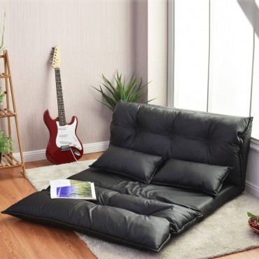 Foldable PU Leather Leisure Floor Sofa Bed W / 2 Pillows