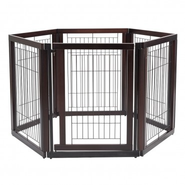 24 In. x 30 In. Folding Solid Wooden 6 Panel Freestanding Pet Playpen