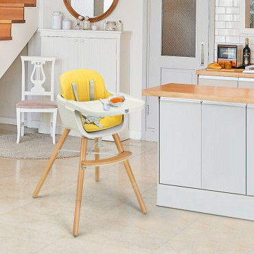 Wooden Baby 3 In 1 Convertible High Chair W / Cushion