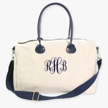 Embroidered Scroll Monogram Weekender Bag