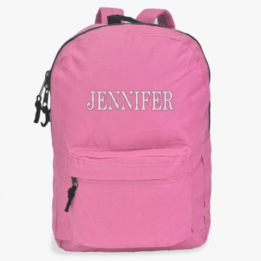 Embroidered Block Name Backpack
