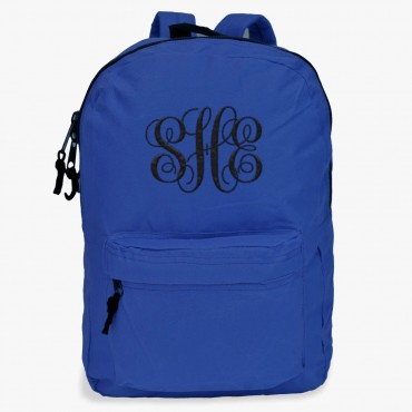 Embroidered Script Monogram Backpack