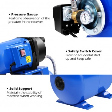 1200 W Garden Water Pump Shallow Well Pressurized Home Irrigation 1000GPH