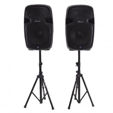 Dual 12 In. 2 - Way 2000 W Powered Speakers With Bluetooth