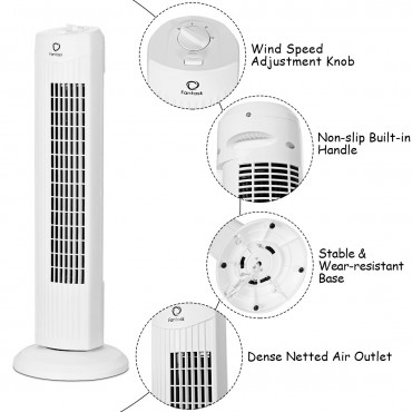 Fantask 35W 28 In. Quiet Bladeless Oscillating Tower Fan