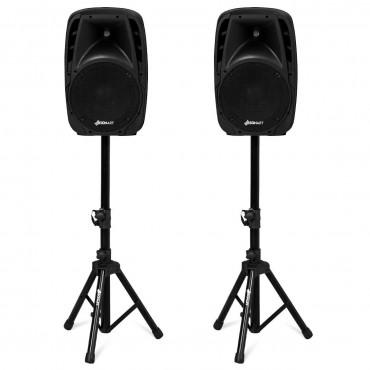 Dual 10 In. 1600W Powered Bluetooth Mic Speaker Speakers