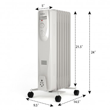 1500W 7-Fin Portable Electric Oil Filled Radiator Heater