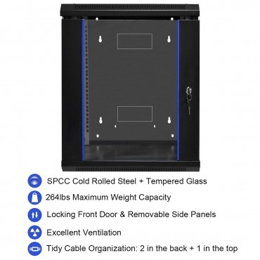 18U Wallmount Data Network Cabinet With Locking Glass Door
