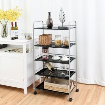 5 Tiers Shelving Display Rack Rolling Cart