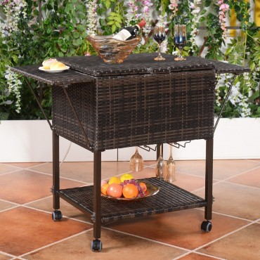 Outdoor Portable Rattan Cooler Cart Trolley